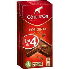 COTE D'OR Tablettes de chocolat au lait extra 4 pièces 4x100g