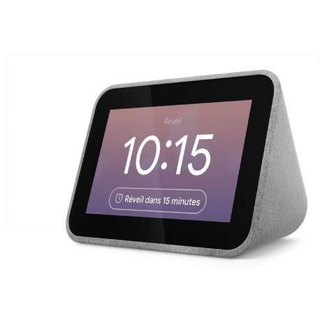 LENOVO Réveil Assistant vocal Smart Clock - Textile gris soft Touch