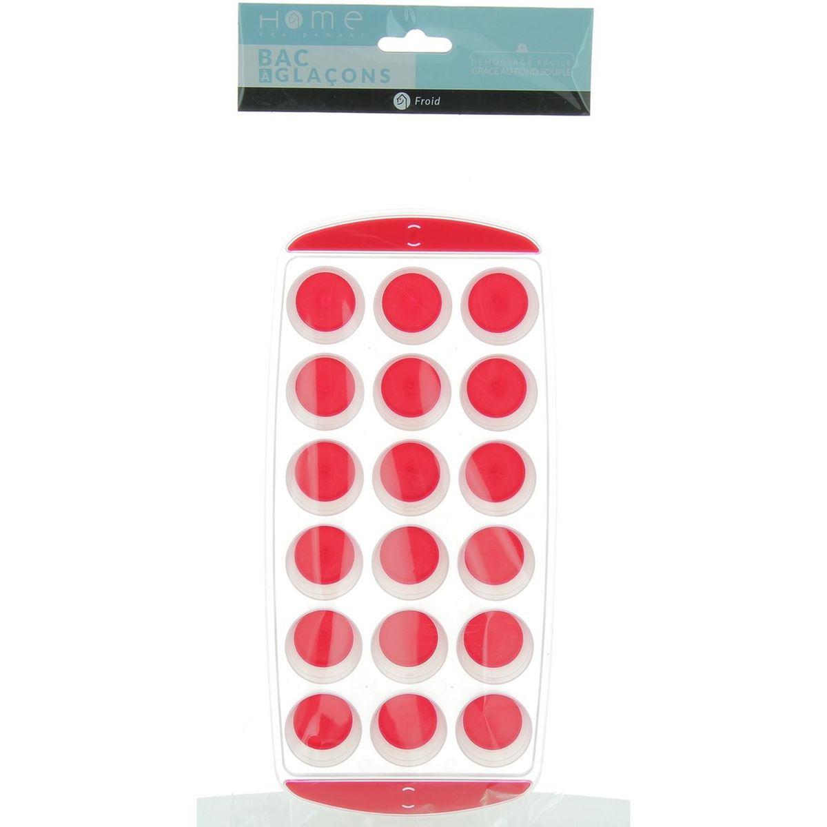 Bac à glaçons 92007 fantaisie rigide avec fond souple Rouge