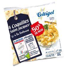 CELTIGEL Coquilles Saint-Jacques à la Bretonne 50% de noix 4 pièces 360g