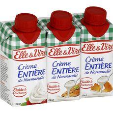ELLE & VIRE ELLE ET VIRE Crème fluide entière 30%MG UHT 3x20cl 3x20cl