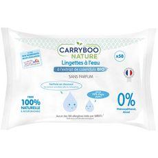 CARRYBOO Lingettes à l'eau pure au calendula bio pour bébé 58 lingettes