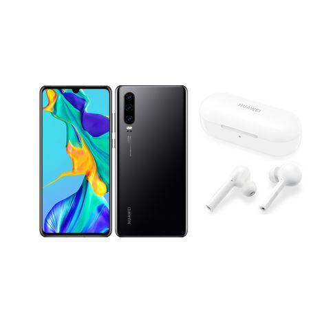 HUAWEI Pack Smartphone P30 128 Go 6.1 pouces Noir 4G+ Double NanoSim + FreeBuds Lite Blanc