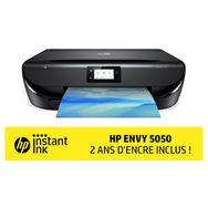 HP Imprimante multifonction Jet d'encre WiFi Bluetooth Portable ENVY 5050 Noir - Compatible Instant Ink 2 ans d'encre inclus