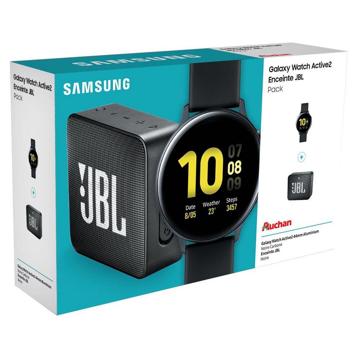 SAMSUNG Montre connectée Galaxy Watch Active2 44 Aluminium Noir + Enceinte Bluetooth GO 2 JBL
