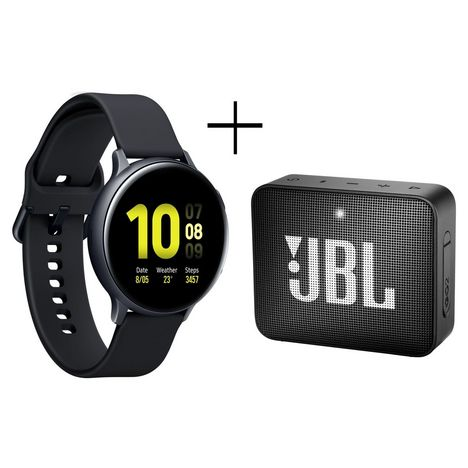 SAMSUNG Montre connectée Galaxy Watch Active2 44 Aluminium Noir + Enceinte Bluetooth GO 2 JBL