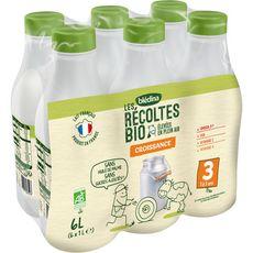 Blédina Blédilait lait de croissance bio liquide de 12 mois à 3 ans 6x1l
