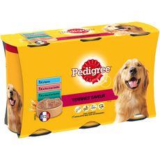 Pedigree Terrines saveurs boîtes pâtée veau agneau porc pour chien 3x1250g