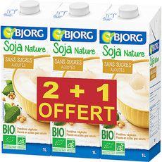 BJORG Bjorg soja à boire nature bio 2x1l +1l offert 1l