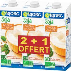 BJORG Bjorg soja à boire calcium bio 2x1l +1l offert 1l