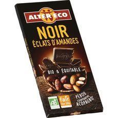Alter Eco Tablette de chocolat noir et éclats d'amandes bio du Pérou 100g