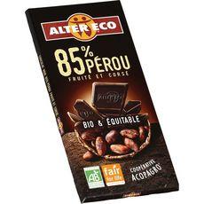 Alter Eco Tablette de chocolat noir bio et équitable Pérou 85% 100g