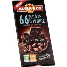 Alter Eco Tablette de chocolat noir bio et équitable Côte d'Ivoire 66% 385g