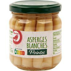 AUCHAN Pointes d'asperges blanches en bocal 110g