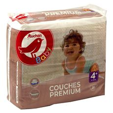 AUCHAN BABY Couches premium taille 4+ (9-20kg) 38 couches