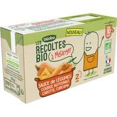 Blédina Sauce de légumes courge carotte bio à mélanger dès 10 mois 2x150g