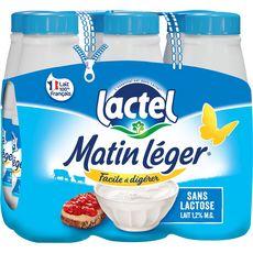 LACTEL Matin léger Lait demi-écrémé sans lactose UHT 6x50cl