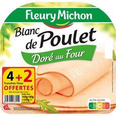 FLEURY MICHON Fleury Michon Blanc de poulet doré au four4 tranches + 2 offertes 240g 4+2 tranches 240g