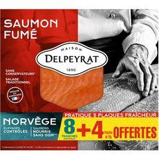 PIERRE DELPEYRAT Delpeyrat tranches de saumon fumé norvégien x8 +4 offertes 390g 8 + 4 offertes 390g