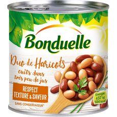 BONDUELLE Duo de haricots cuits dans très peu de jus sans conservateur 250g