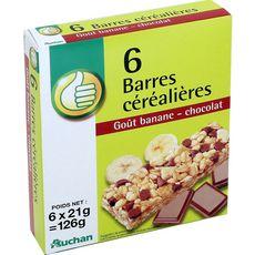 AUCHAN ESSENTIEL Barres de céréales banane et chocolat 6 barres 126g