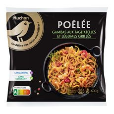 AUCHAN GOURMET Poêlée de gambas, tagliatelles et légumes grillés 2 portions 600g