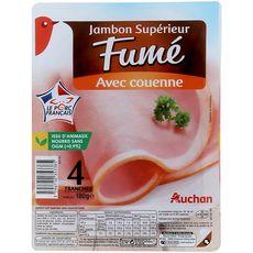 Auchan jambon fumé avec couenne 4 tranches 180g