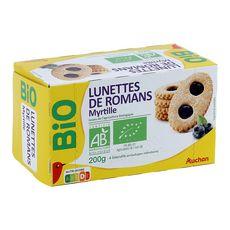 AUCHAN BIO Auchan Bio Biscuits lunettes de romans à la myrtille, sachets individuels 4 4 biscuits 200g