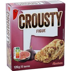 AUCHAN Auchan Crousty barres de céréales à la figue 6 barres 126g 6 barres 126g