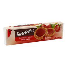 AUCHAN Tartelettes nappées saveur fraise 8 biscuits 150g