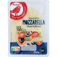 AUCHAN Mozzarella en tranche 9 tranches 200g