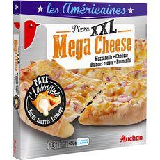 AUCHAN Pizza mega cheese aux 3 fromages et oignons rouges 450g