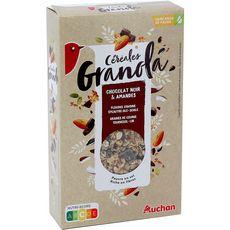 AUCHAN Granola céréales au chocolat noir et amandes 375g