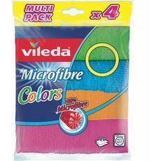 VILEDA Chiffons microfibre colorés 4 chiffons