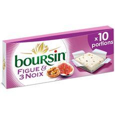 BOURSIN Fromage à tartiner aux figues et 3 noix 10 portions 10x16g