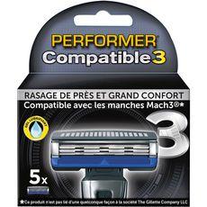 Performer Recharges lames de rasoirs 3 lames compatible Gillette Mach3 x5