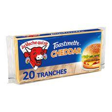 LA VACHE QUI RIT Toastinette Fromage cheddar pour hamburger 20 tranches 340g