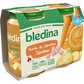 Blédina pot purée carottes jambon 2x200g dès 6 mois