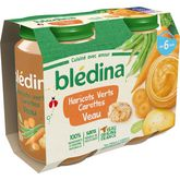 Blédina haricots verts carotte veau 2x200g dès 6 mois