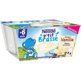 Nestlé Nestlé P'tit brassé petit pot dessert à la vanille dès 6 mois 4x100g