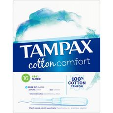 TAMPAX Tampax Cotton comfort tampons avec applicateur 100% cotton super x16 16 tampons