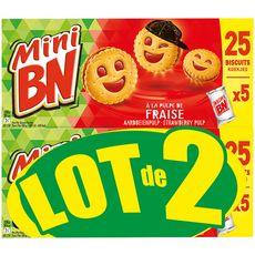 BN Mini Biscuits fourrés à la fraise 2x25 biscuits 2x350g