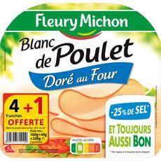 Fleury Michon blanc de poulet sel réduit tranche x4+1offerte 200g