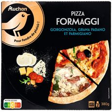 AUCHAN GOURMET Pizza formaggi gorgonzola, grana padano et parmigiano 380g