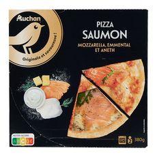 AUCHAN GOURMET Pizza au saumon, mozzarella, emmental et aneth 380g