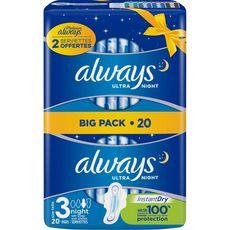 ALWAYS Ultra Night serviettes hygiéniques nuit avec ailettes taille 3 20 serviettes