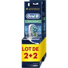 Oral B Dual Clean Brosses de rechanges pour brosses à dents électriques 2x2