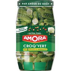 AMORA Croq'Vert cornichons extra fins aux 6 épices et aromates 370g