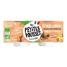 LES PETITES POUSSES Dessert végétal bio brassé  coco vanille 2x100g