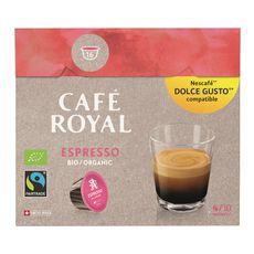 CAFE ROYAL Café espresso bio en dosette compatible Dolce Gusto 16 dosettes 96g